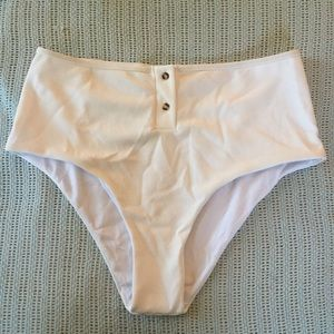 White high waisted bikini bottom